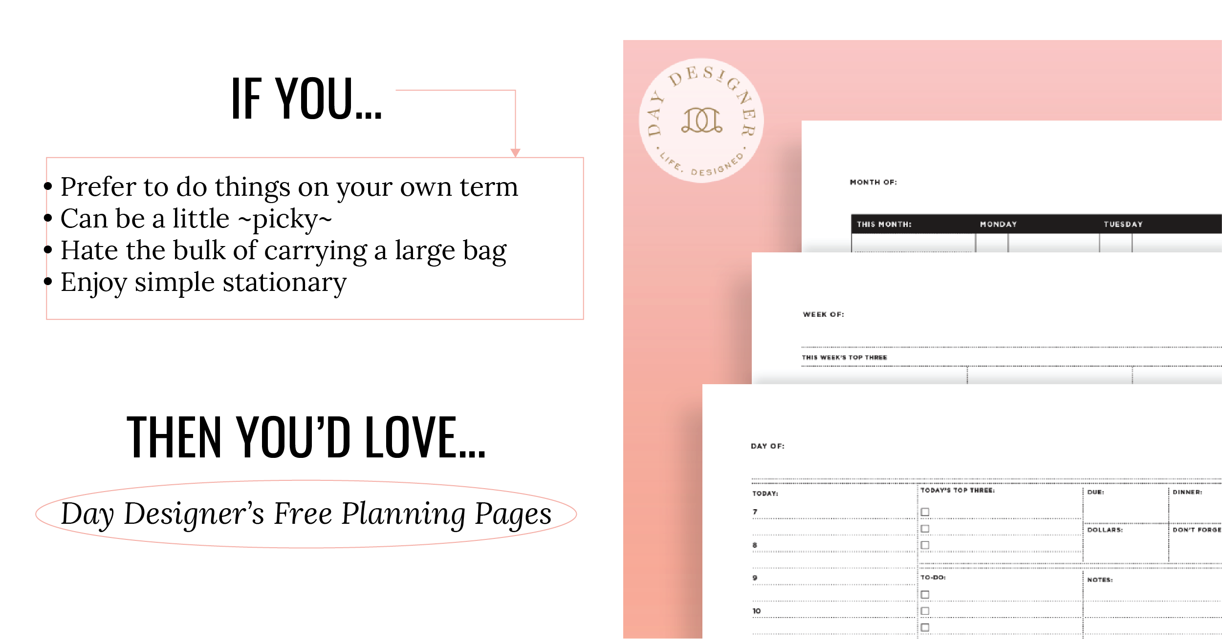 Day Designer's Printable Planning Pages